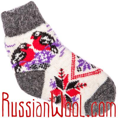 Носки пуховые со снегирями для детей