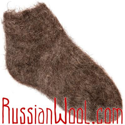 Вязано-валяные полуноски из темного козьего пуха