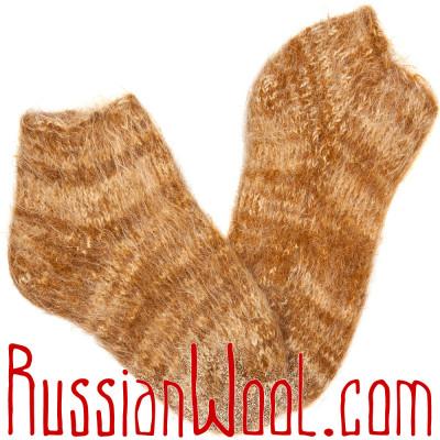 Вязано-валяные полуноски из рыжего козьего пуха