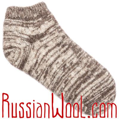 Короткие шерстяные носки мужские коричневые
