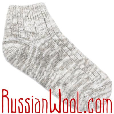 Короткие полушерстяные носки женские светло-серые
