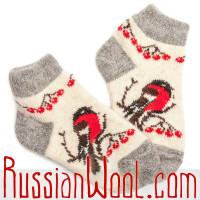 Комплект: шерстяные носки и следки, белые со снегирями