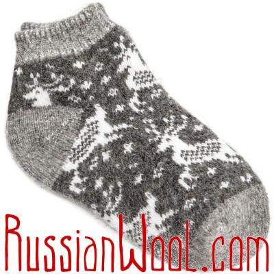 Носки Нашествие Оленей шерстяные серые короткие