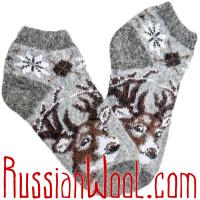 Носки Олени серые короткие шерстяные
