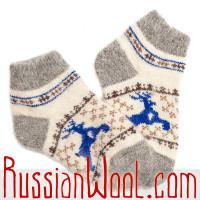 Комплект: вязаные перчатки и теплые подследники из овечьей шерсти, бело-синие