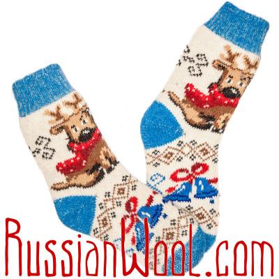 Новогодние носки с оленем