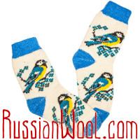 Женские носки Снегири и Синички, комплект 2 пары