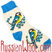 Женские носки с синичками, голубо-белые