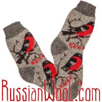 Комплект шерстяных носков со снегирями, мужские и женские