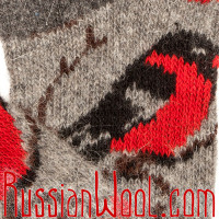 Мужские носки со снегирями, темно-серые