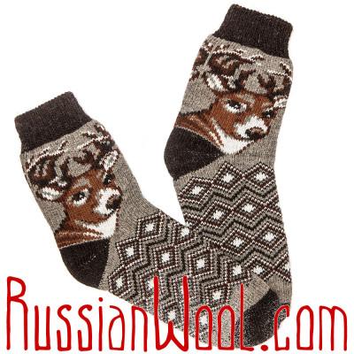 Темно-серые носки с оленем