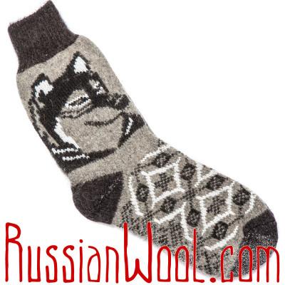 Носки Волк мужские шерстяные черно-серые