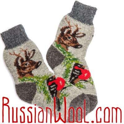 Носки Хит — Олени со Снегирями, серые