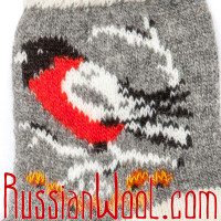 Женские носки со снегирями, бело-серые