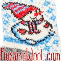 Носки Снеговик шерстяные женские белые