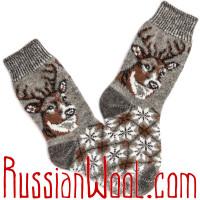 Носки Олени шерстяные серые