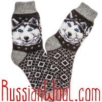 Комплект мужских шерстяных носков, две пары темного цвета