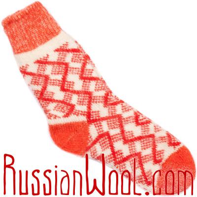 Красно-белые носки шерстяные с ангорой