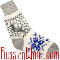 Пушистые сине-белые носки с оленями
