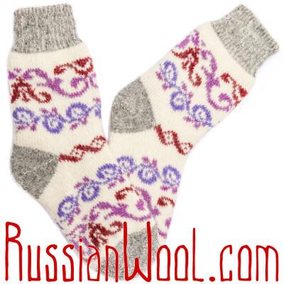 Лилово-белые носки с завитушками, шерстяные с ангорой
