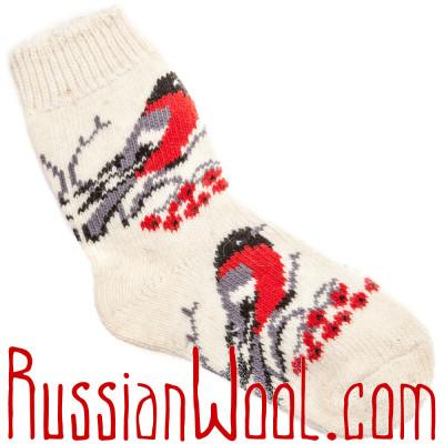 Носки Снегири шерстяные белые