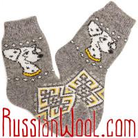 Комплект: шерстяные носки плюс подследники серые с далматинцем