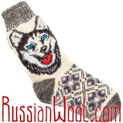 Носки Символ Года 2018 шерстяные белые