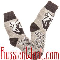Носки шерстяные мужские Медведь Серый