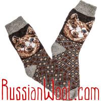 Комплект Символ Года 2018: мужские шерстяные носки и варежки с лайками