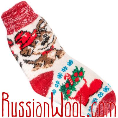 Носки Собачка Дружок шерстяные бело-красные