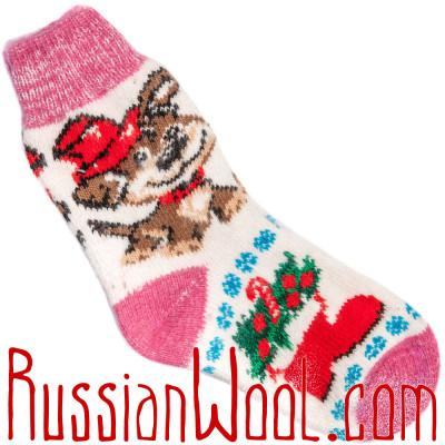 Носки Собачка Дружок шерстяные розово-белые