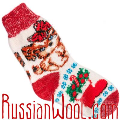 Носки Собачка Подружка шерстяные красно-белые