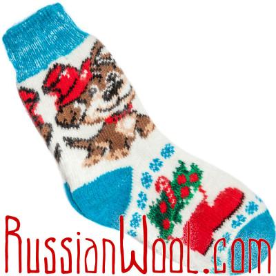 Носки Собачка Дружок шерстяные голубо-белые