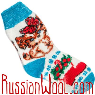 Носки Собачка Подружка шерстяные бело-голубые
