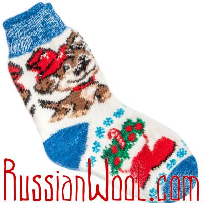 Носки Собачка Дружок шерстяные сине-белые