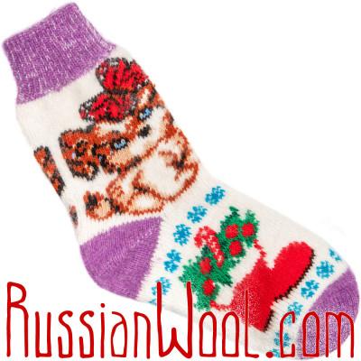 Носки Собачка Подружка шерстяные лилово-белые