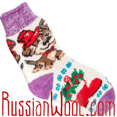 Носки Собачка Дружок шерстяные лилово-белые