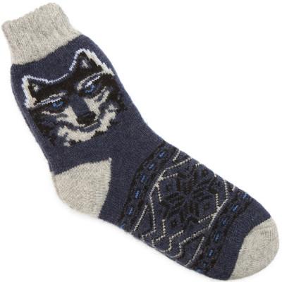 Носки Волки джинсово-синие мужские шерстяные