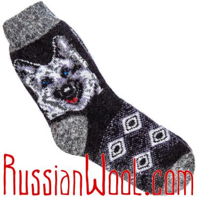 Носки Пограничник шерстяные мужские асфальтово-черные