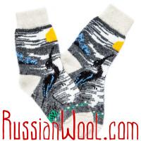 Носки Цапля на Закате дня шерстяные