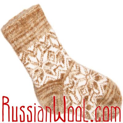 Носки из козьего пуха, бело-золотистые