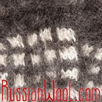 Носки пуховые козьи ручной вязки темные клетчатые