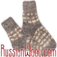 Носки пуховые козьи ручной вязки светлые клетчатые