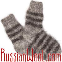 Носки пуховые козьи ручной вязки полосатые
