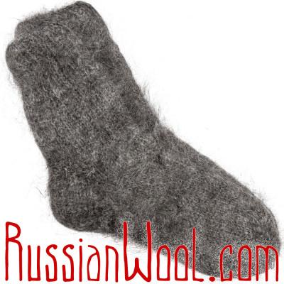 Носки пуховые козьи ручной вязки темные