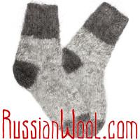 Носки пуховые козьи ручной вязки серые
