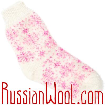 Носки со снежинками пуховые розово-белые