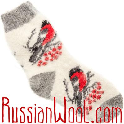 Носки Снегири пуховые белые женские