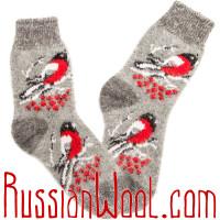 Носки Снегири пуховые серые женские