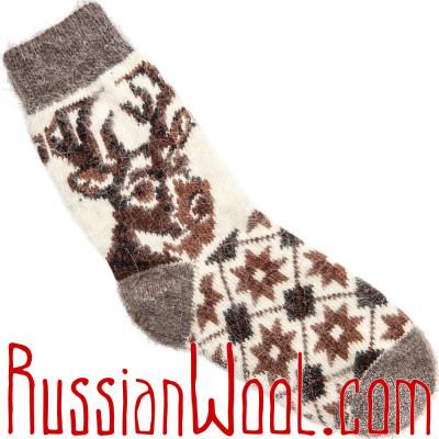 Детские носки с Оленем белые, шерсть с пухом